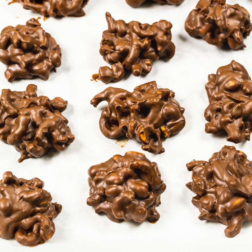 Chocolate Peanut Clusters with Pretzels