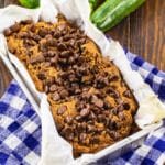Chocolate Zucchini Bread in a loaf pan.