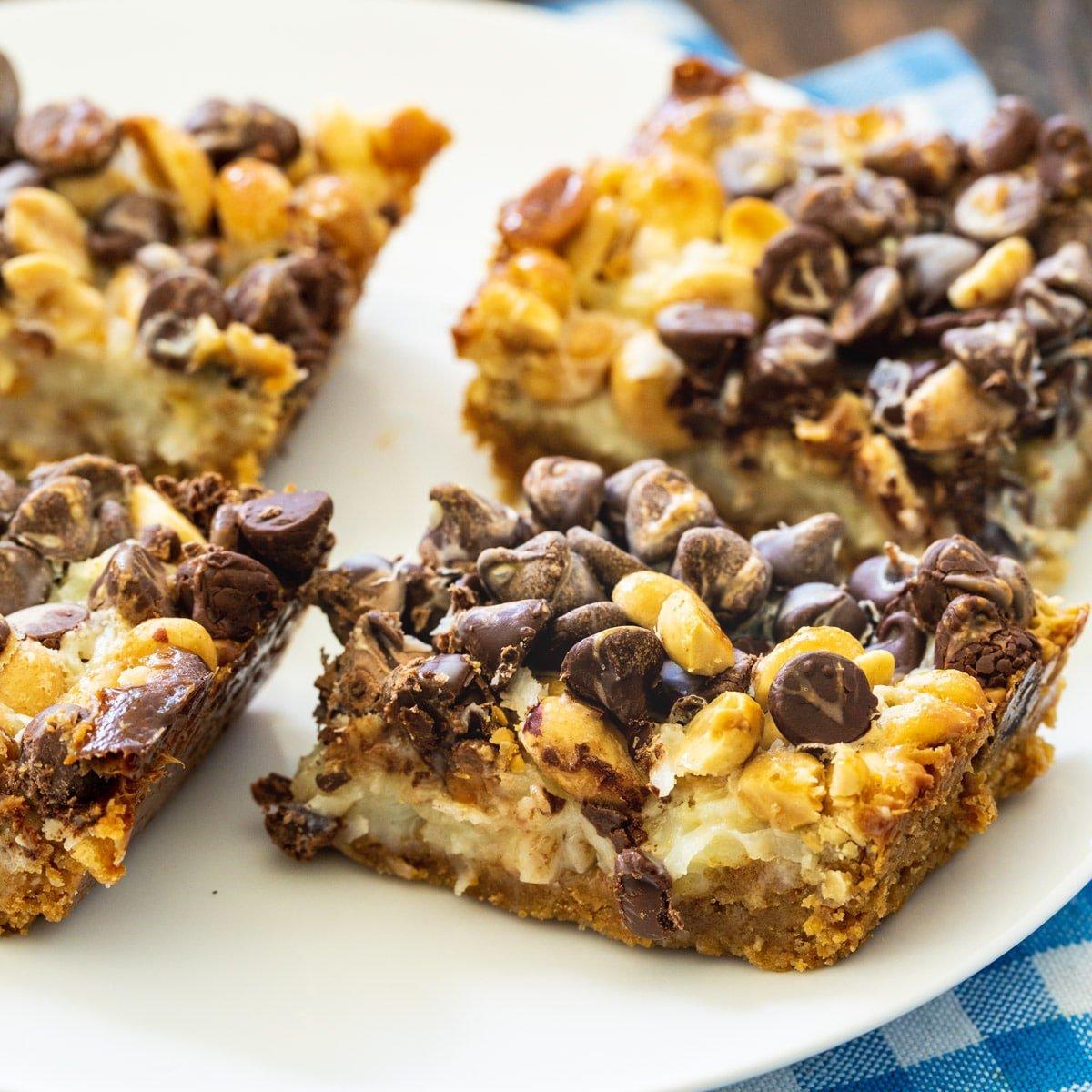 Chocolate and Peanut Graham Bars on a plate.