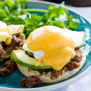 Mexican Eggs Benedict with chorizo