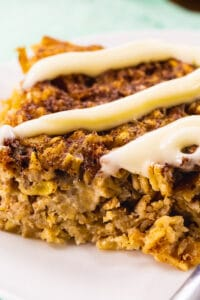 Square of Cinnamon Roll Baked Oatmeal on a plate.