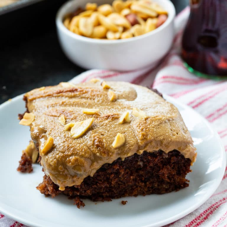 Coca-Cola Cake with Broiled Peanut Frosting