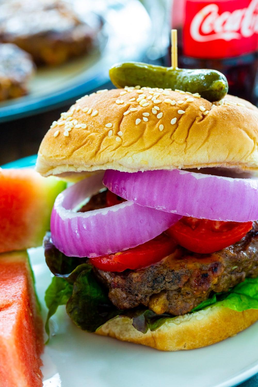 Close-Up of a Cola Burger.