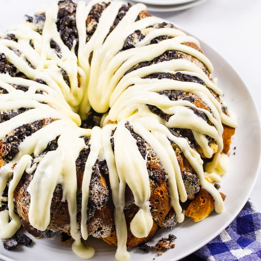 Whole Cookies and Cream Monkey Bread on a serving platter.