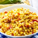 Corn Maque Choux in a serving bowl.