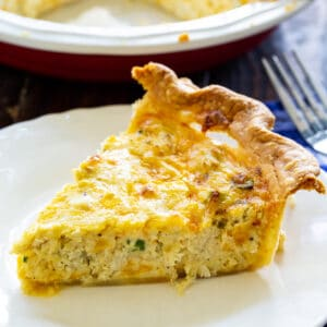 Slice of Crab Pie on a plate.