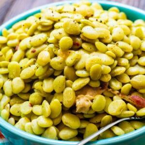 Cracker Barrel Lima Beans in a blue serving bowl.