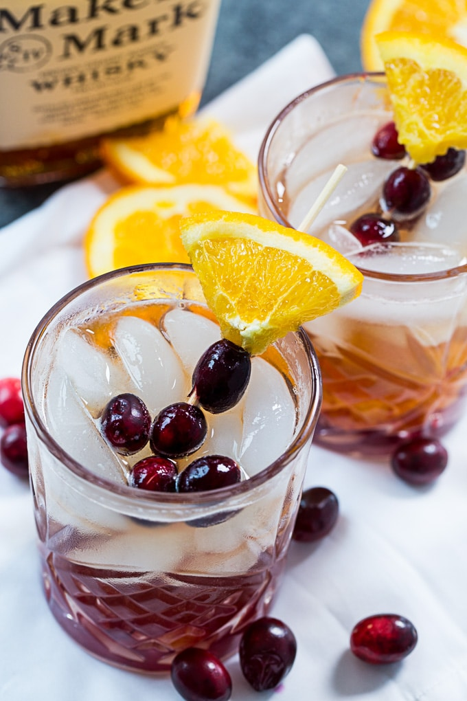 Cranberry Old-Fashioned with bourbon