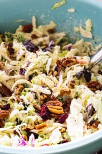Cranberry Pecan Coleslaw in large blue bowl.