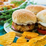 Crawfish Burgers with dill sauce
