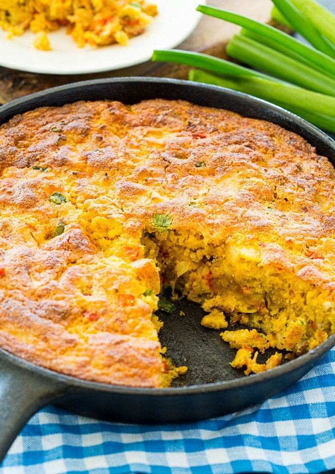 Crawfish Cornbread baked in a cast iron pan