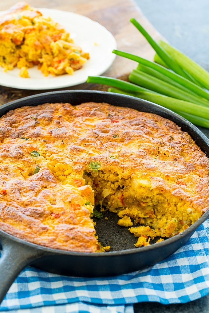 Crawfish Cornbread baked in cast iron skillet