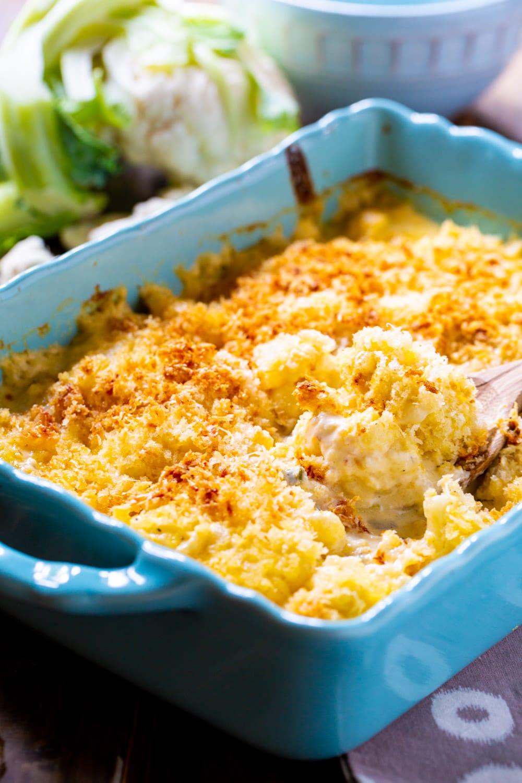Creamed Cauliflower in blue baking dish.