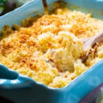 Creamed Cauliflower in a blue baking dish.