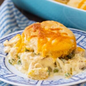 Easy Creamed Chicken topped with biscuit
