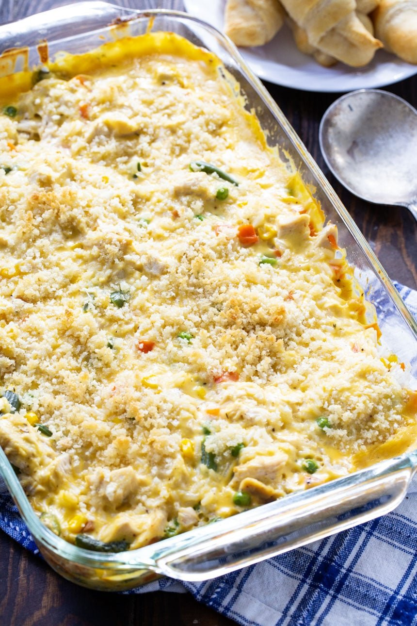 Chicken Vegetable, and Rice Casserole in a 9x13-inch baking pan