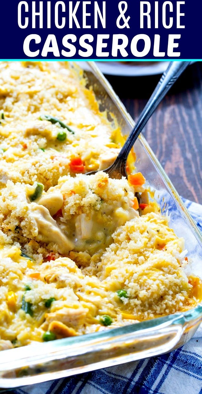 Creamy Chicken and Rice CAsserole in a 9x13-inch baking dish