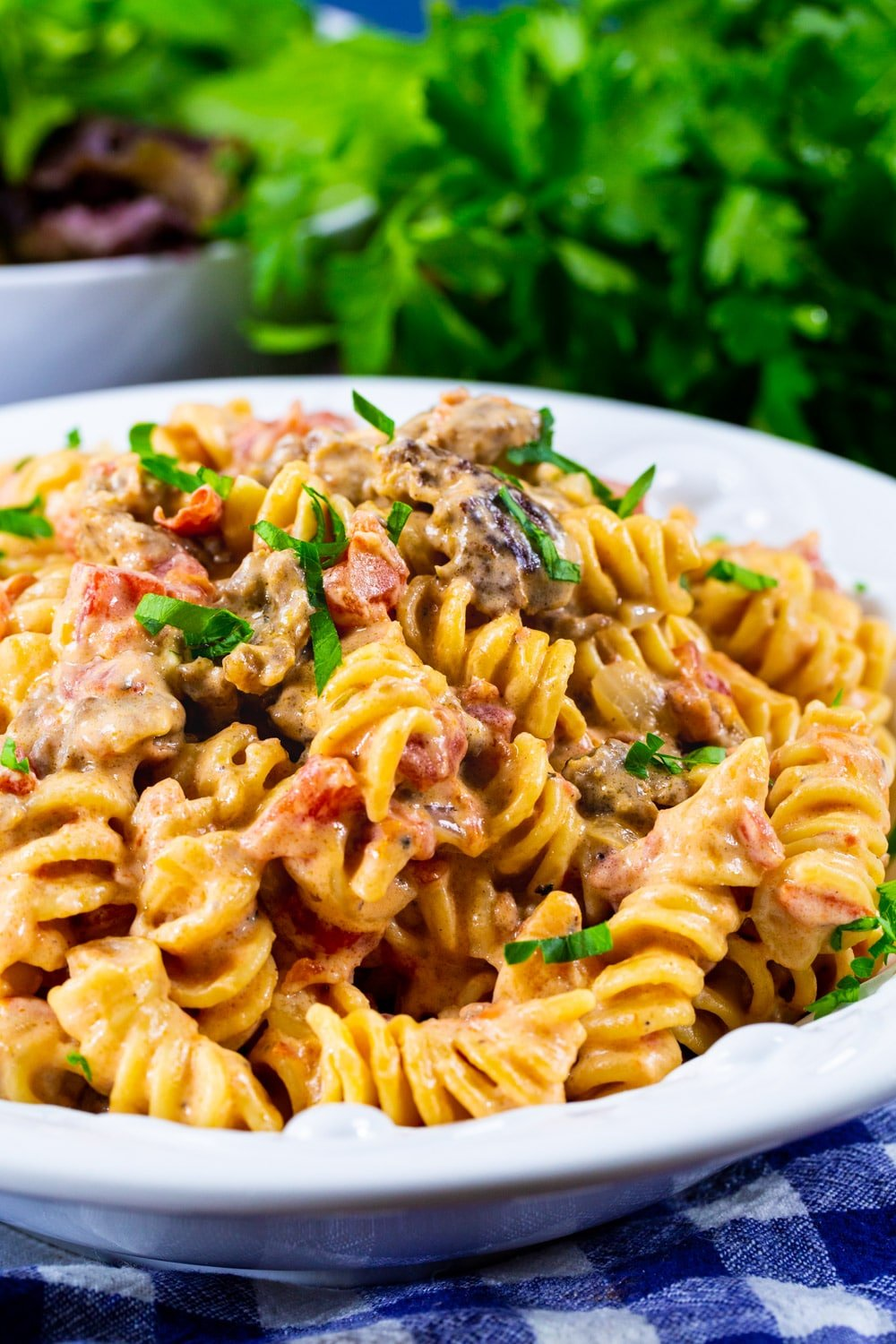 Creamy Rotel Pasta with Sausage in bowl with parsley in background.