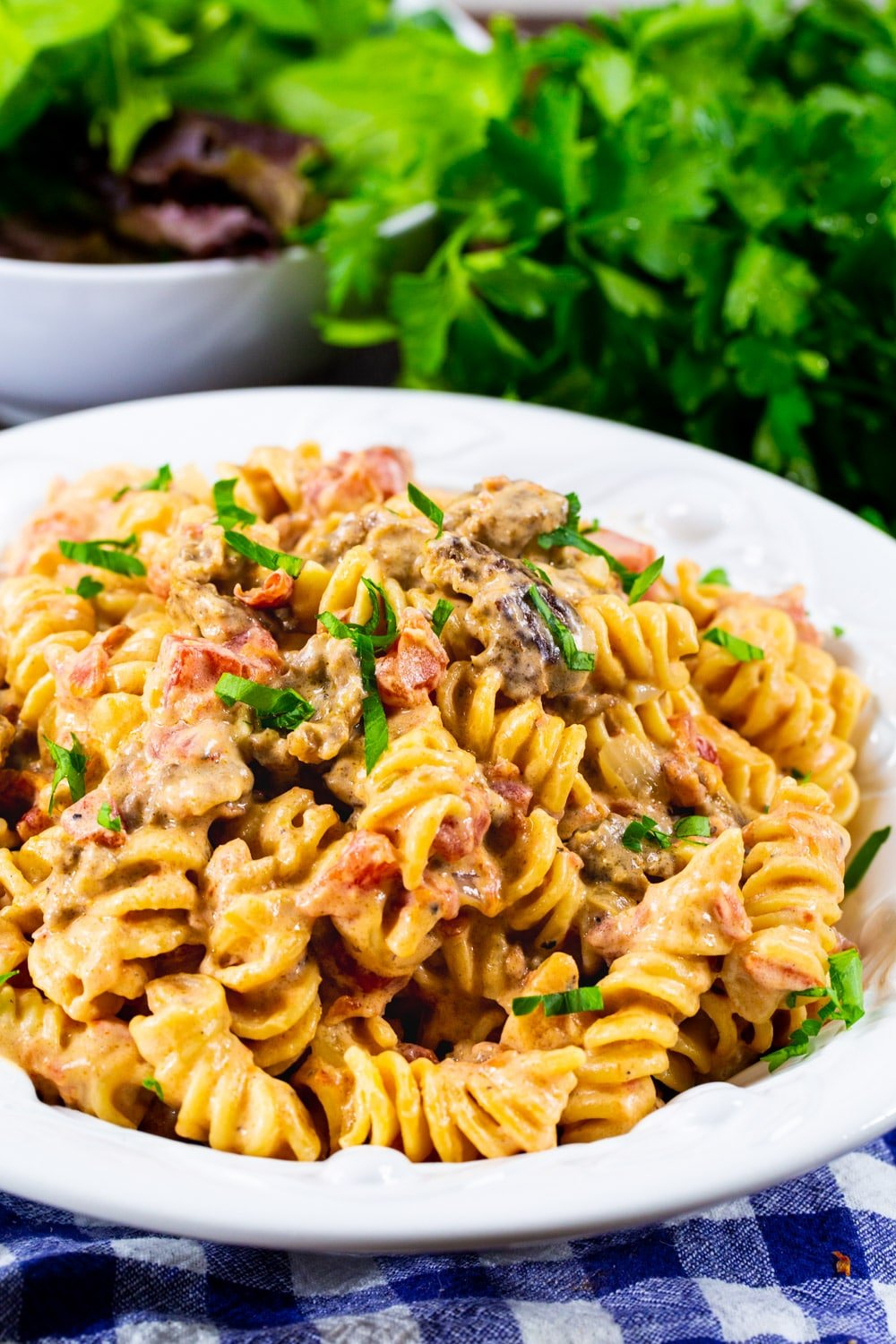 Creamy Pasta wit Rotel Tomatoes and Sausage in a white bowl with parsley in background.