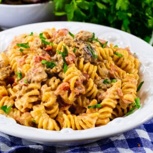 Creamy Rotel Pasta with Sausage in a bowl.
