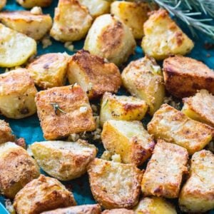 Roasted potatoes on baking sheet