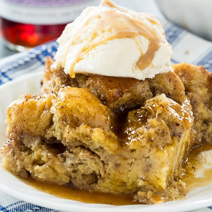 Crock Pot Bread Pudding with Buttered Rum Sauce