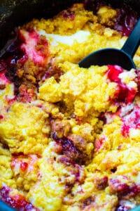 Crock Pot Cherries and Cream Dump Cake in slow cooker.