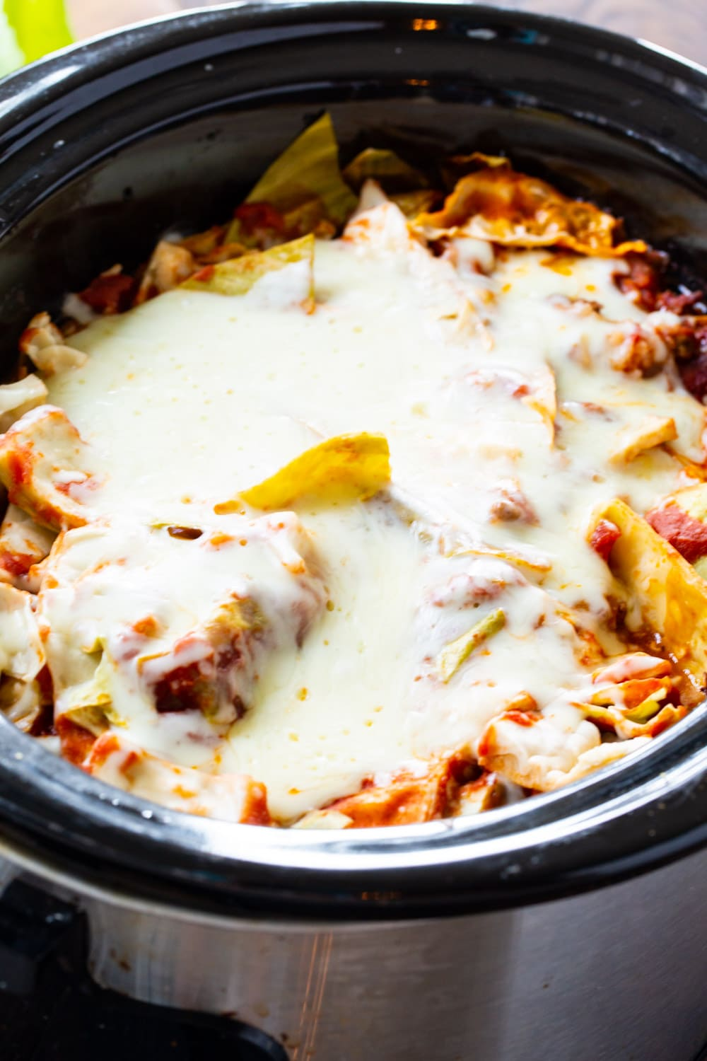 Cabbage Roll Casserole in a slow cooker.