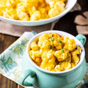 Bowl full of Crock Pot Cauliflower and Cheese.