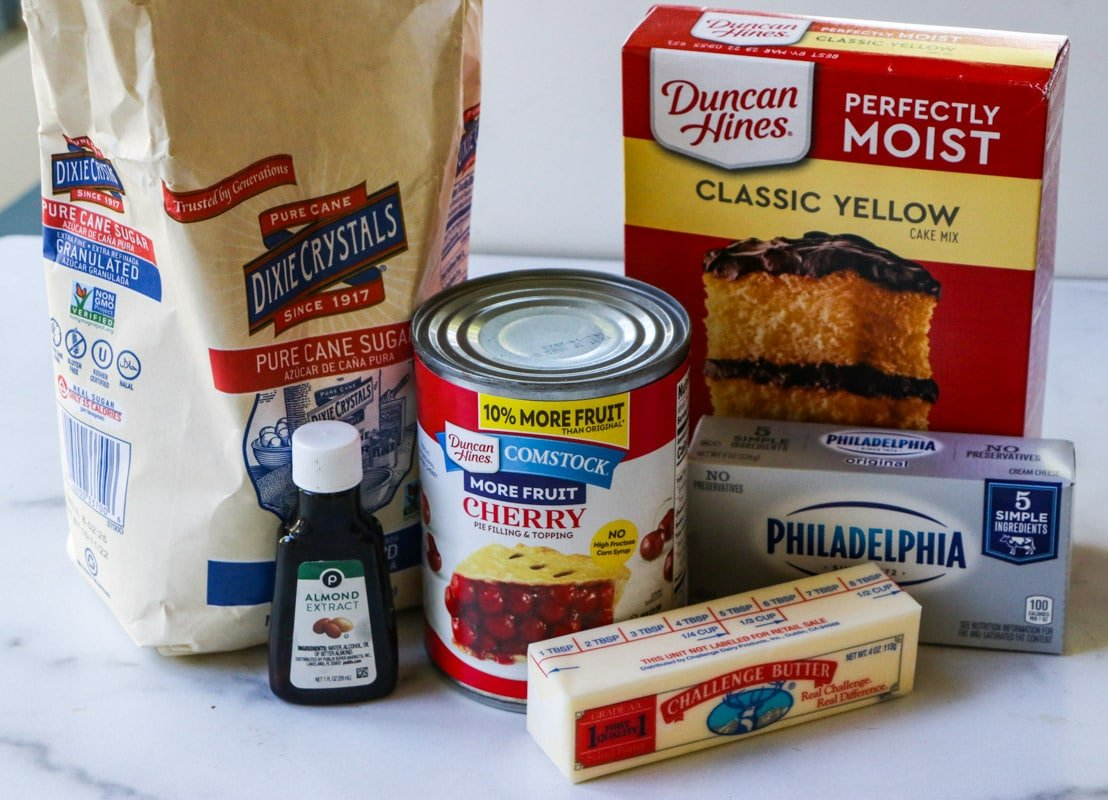Ingredients needed for Cherries and Cream Dump Cake.