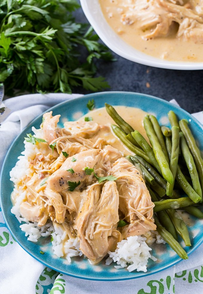 Crock Pot Chicken and Gravy over white rice