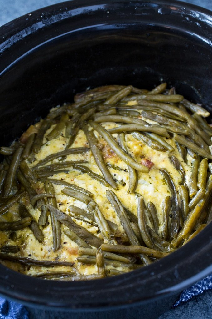 Crock Pot Chicken and Stuffing Casserole with green beans