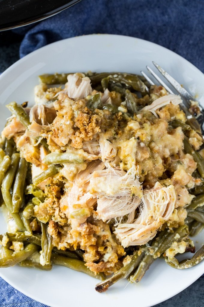 Crock Pot Chicken and Stuffing Casserole with Green beans- only 5 minutes of prep!