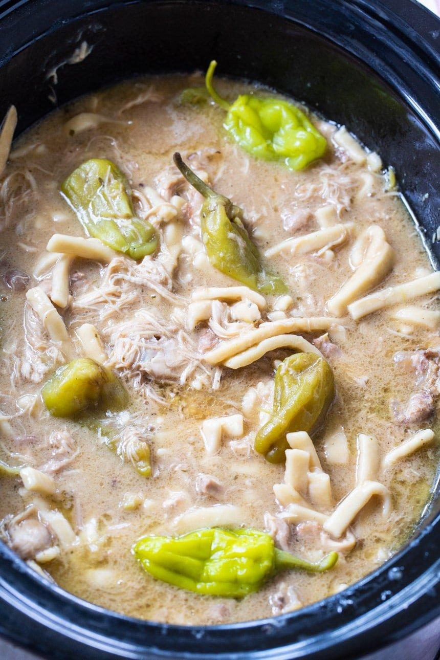 Crock Pot Mississippi Chicken and Noodles