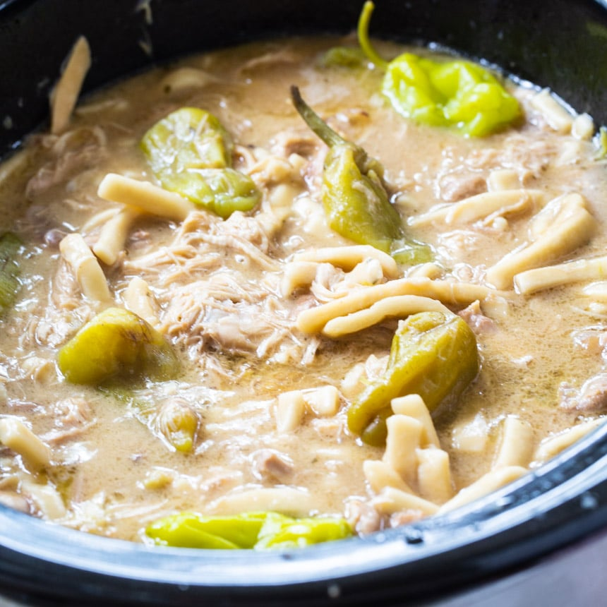 Mississippi Chicken and Noodles in crock pot