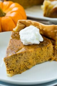 Slice of Crock Pot Pumpkin Pie topped with whipped cream.