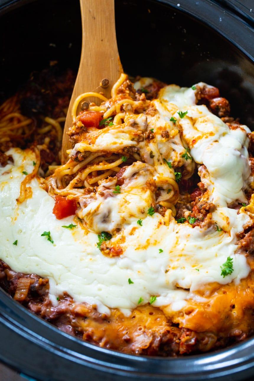 Slow Cooker Spaghetti Casserole