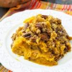 Serving of Crock Pot Sweet Potato Casserole on a plate.