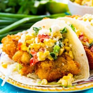 Crunchy Catfish Tacos on a plate.