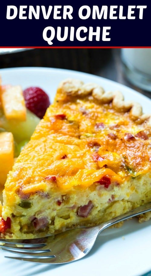 Denver Omelet Quiche with ham, onion, and bell pepper.