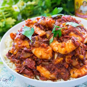 Deviled Shrimp served over rice