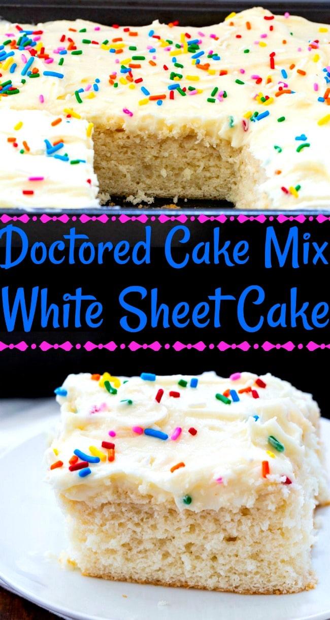 Collage of Doctored Cake Mix White Sheet Cake