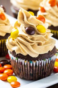 Reese's Cupcakes on a white plate.