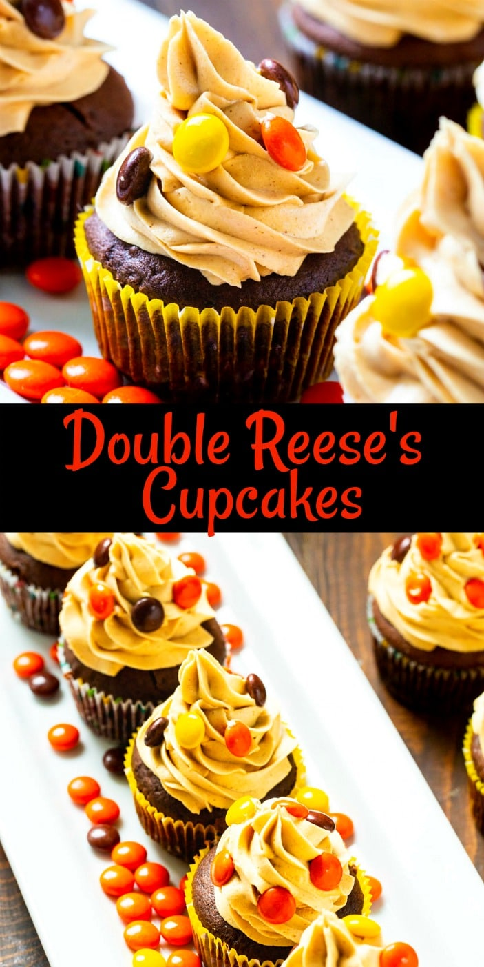 Collage of Double Reese's Cupcakes