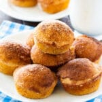 Old-Fashioned Doughnut Muffins plied on a plate.