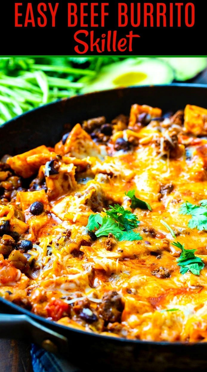 Burrito Skillet in a large skillet close-up.