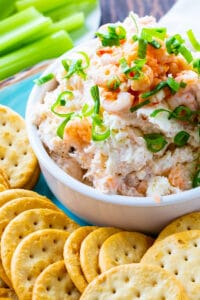 Easy Shrimp Spread in a bowl surrounded by crackers.