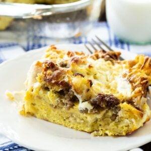 Slice of English Muffin Breakfast Casserole