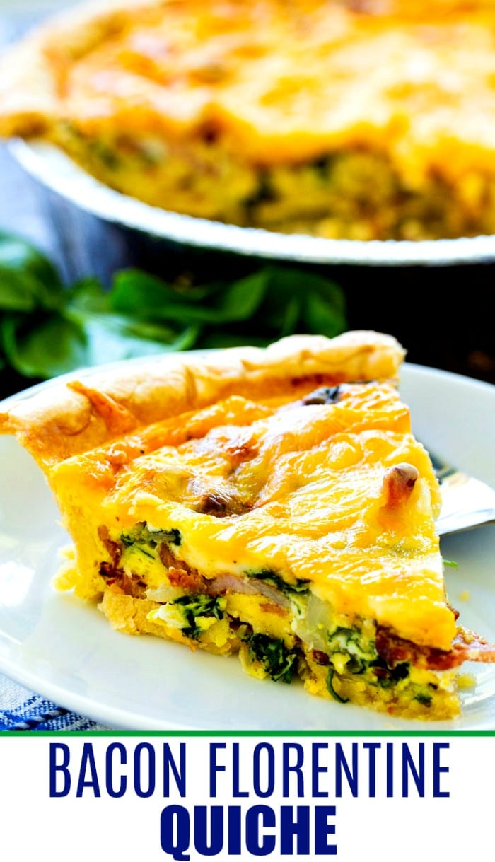 Slice of Bacon Florentine Quiche.