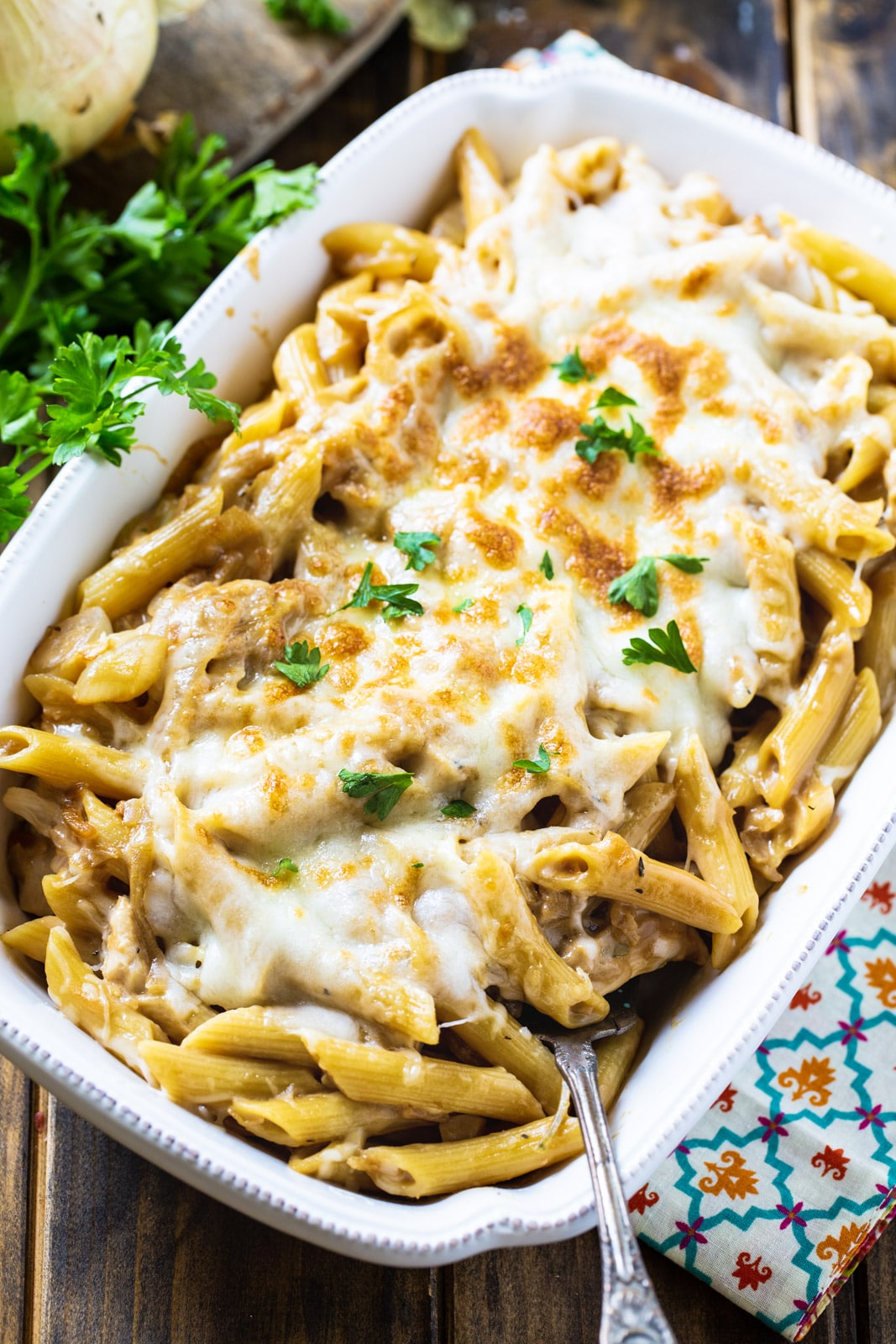 French Onion Pasta in a white baking dish.